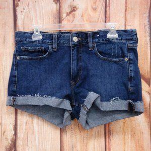 Low Rise Cut Off Stretch Denim Shorts